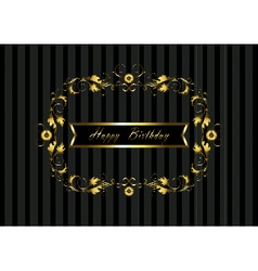 Gold frame with floral pattern and happy birthday vector