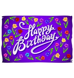 Violet greeting card happy birthday tulip vector