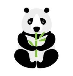 Cartoon panda sitting and eating bamboo animal vector