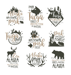 Alaska national park labels set forest protection vector