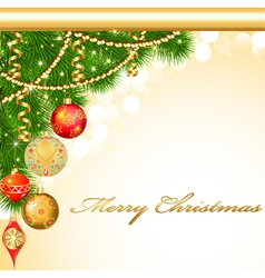 background Christmas with decorative balls vector image