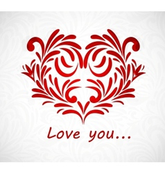 Background with floral heart vector image vector image