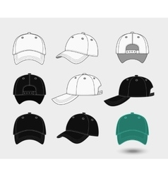 Baseball cap Back front and side view vector image