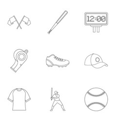 Baseball icons set outline style vector