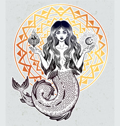 Beautiful magic mermaid girl with heart and moon vector