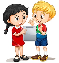 Boy and girl looking at the screen vector