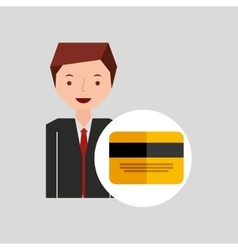 Business man cartoon and credit card vector