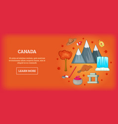 Canada travel horizontal banner cartoon style vector