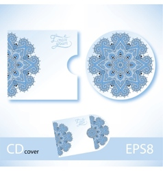 Cd cover design template with blue colour vector