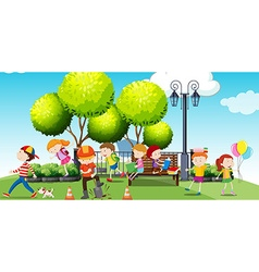Children hanging out at the park vector