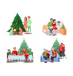 Christmas family scenes children open presents vector
