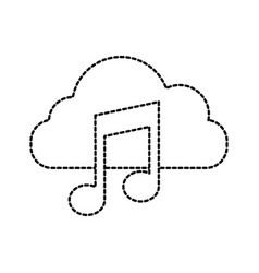 cloud computing music note sound digital button vector image