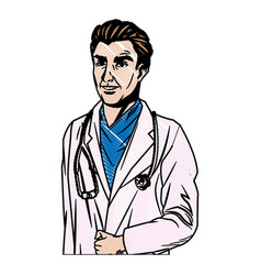 Doctor man wearing coat and stethoscope medical vector