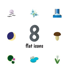 Flat icon natural set of cascade half moon pond vector