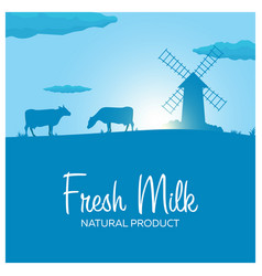 Fresh milk natural product rural landscape with vector
