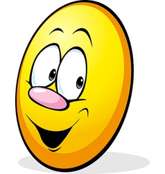 funny yellow easter egg cartoon vector image vector image