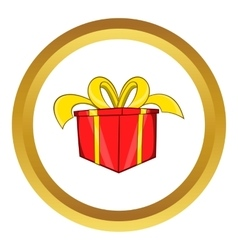 Gift in a box icon cartoon style vector