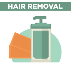 Hair removal promotional poster with bottle of vector