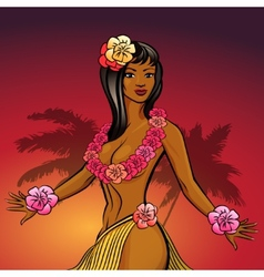 Hawaiian hula dancer vector