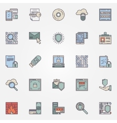 Internet security flat icons vector