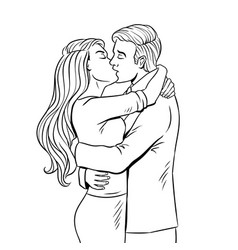 kissing couple coloring book vector image