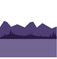 landscape with mountains and forest at night vector image