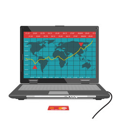 Laptop with forex trade graph chart vector