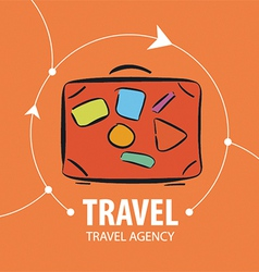 Logo orange suitcase for travel vector