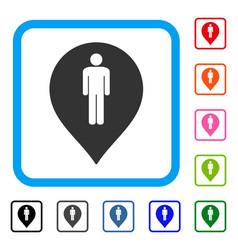 Man toilet marker framed icon vector