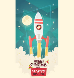 merry christmas and happy new year card with santa vector image