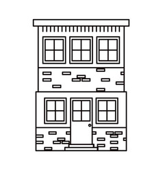 Monochrome silhouette house of two floors vector