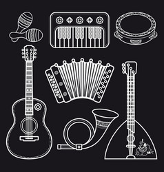 Musical instruments childrens toys set vector
