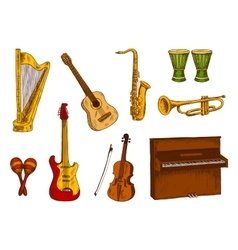 Musical instruments icons for entertainment design vector image