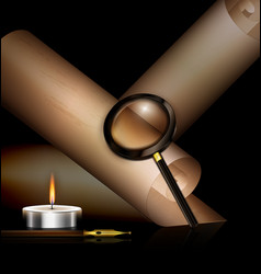 Old paper with candle pen and magnifier vector