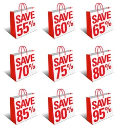 SALE SAVE Shopping Bags Carrier Bags Symbols vector image vector image