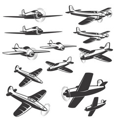 Set of aircraft icons isolated on white vector