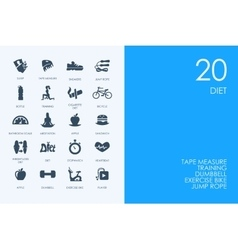 Set of blue hamster library diet icons vector