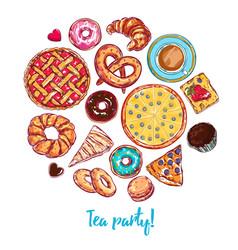 sketch bakery round vector image vector image