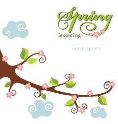Spring flowering branch background vector