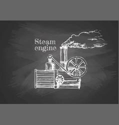 Steamer on blackboard vector