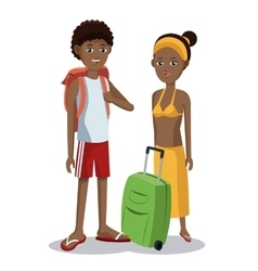 Travel afro couple tourist vacation luggage vector