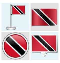 Trinidad and Tobago flag - sticker button label vector image vector image