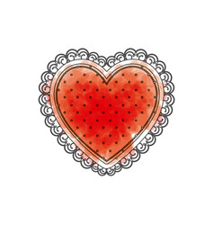 Watercolor drawing of heart with decorative frame vector