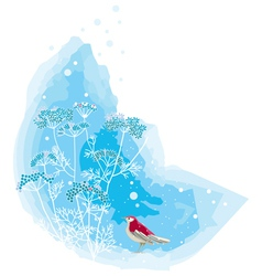 Winter scene with a red bird vector image vector image