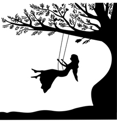 Young girl sitting on the swing in summer garden vector image vector image