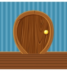 Cartoon wooden rounded door for home interior vector