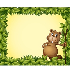Beaver photo frame vector