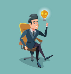 successful businessman get the idea light bulb vector image