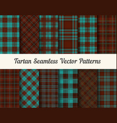 Tartan seamless patterns in brown and blue vector