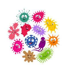 funny germs and virus kids background vector image